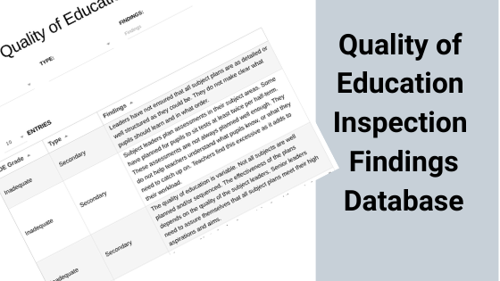 Quality of Education Inspection Findings Update