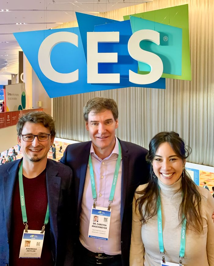 Andreas Zeitler, Sophia Tran und Carsten Maschmeyer auf der CES 2020