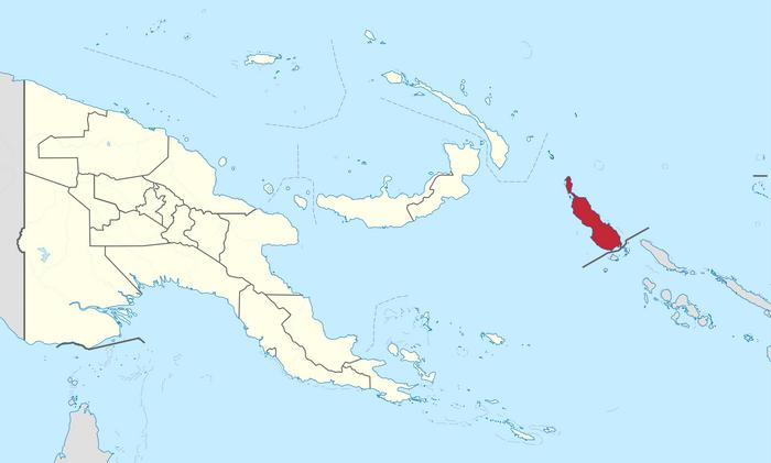 Розташування Бугенвілю на мапі Папуа-Нової Гвінеї
