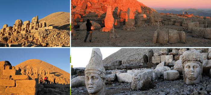 Monte Nemrut - Fotos de la Cara Oeste y la cara Este al amanecer. Detalle del dios Apolo y la Diosa Kommagene