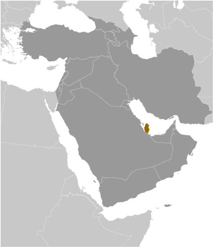 Катар на мапі Близького Сходу.