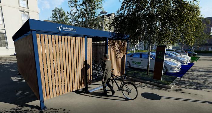 Afgesloten fietsstalling met slimme toegangscontrole via smartphone app.