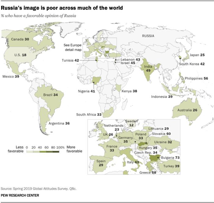 % громадян, які прихильно ставляться до РФ по країнах