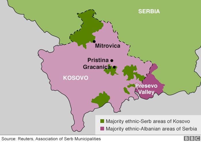 Спрощена етнічна мапа Косова й Сербії. Фіолетовим виділено Косово (світліший) та території Сербії, населені переважно албанцями/косоварами (темніший); зеленим відповідних відтінків – Сербію та території Косова з сербською етнічною більшістю. ДаніReuters, Асоціація сербських муніципалітетів