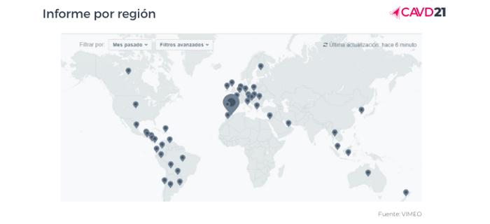 Mapa de asistentes por países