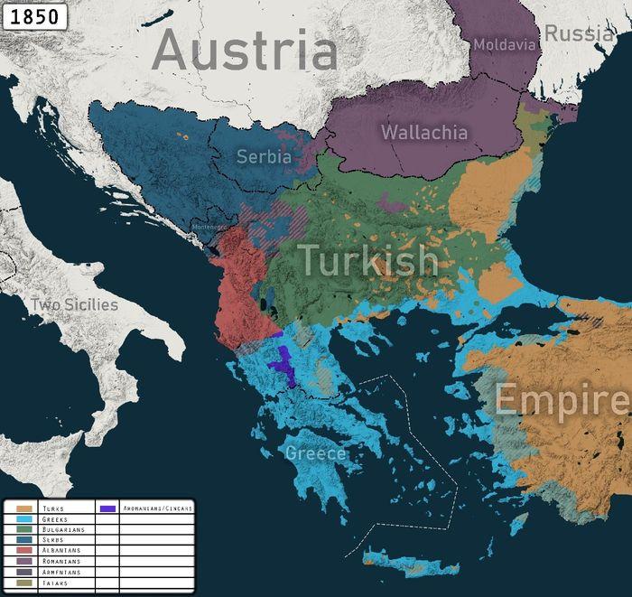 Етнографічна мапа Балкан у складі Османської імперії у середині ХІХ століття. Червоний колір – місця розселення албанців.