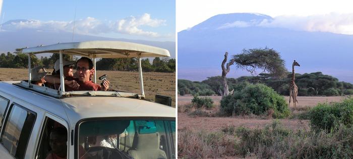 Mientras los rastreadores guían nuestro vehículo, una jirafa parece vigilante al lado de sus acacias