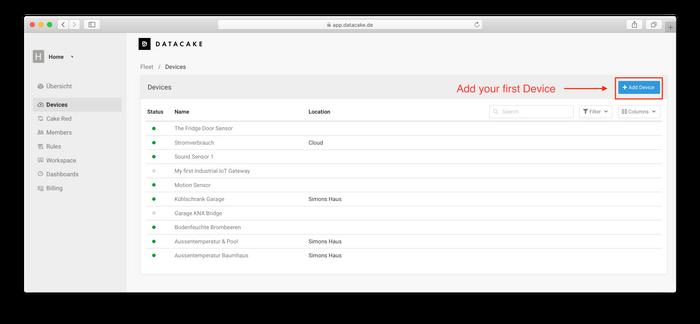 Add your LoRaWAN IoT Device on Datacake