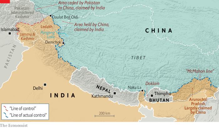 На мапі позначені точки конфронтації Індії та Китаю. На схід від Бутану темнішим жовтим виділений штат Аруначал-Прадеш.