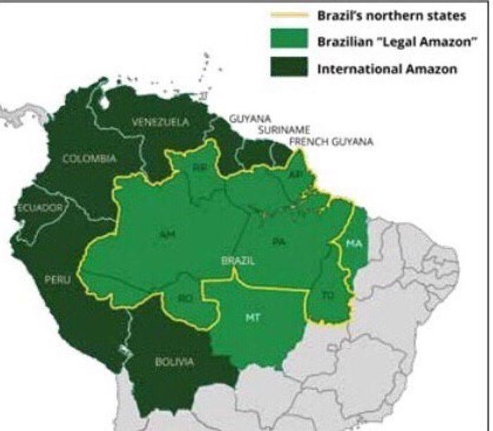 Світло-зелений: території Амазонії, що належать Бразилії, темно-зелений: увесь регіон Амазонії на території різних держав