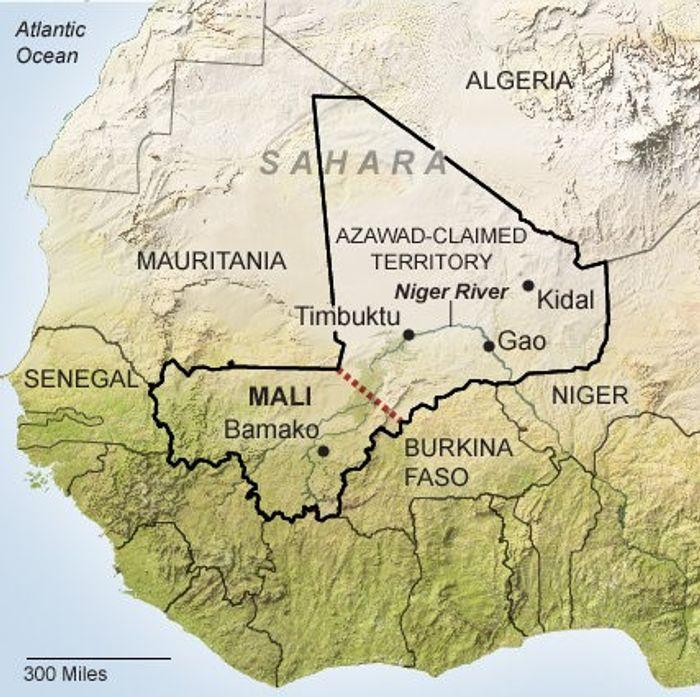 На карті територію, на якій планувалося утворити Незалежну державу Азавад, відділено червоним пунктиром