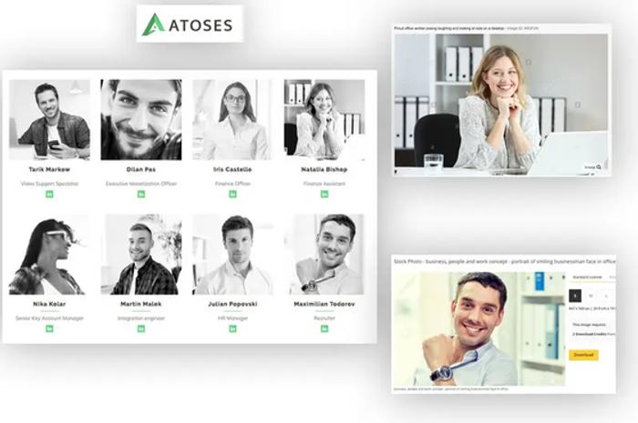 На сайте компании Atoses использовались стоковые фото в разделе о сотрудниках - иллюстрация из книги, глава 8: Расследование веб-сайтов
