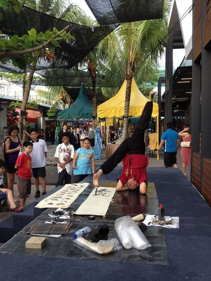 GreenwichV Mall at Selatar | Carnival performance Yoga Calligraphy | Emcee Singapore Melvin Ho | EmceeMelvin.com