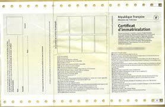 Voici un certificat d'immatriculation<br>
