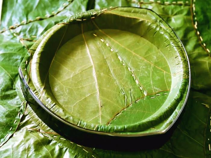 A palm-leaf plate made by Leaf Republic