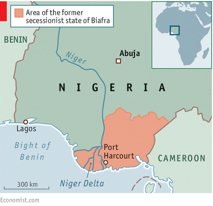 Республіка Біафра на мапі Нігерії