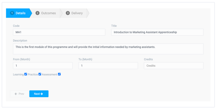 Step 1 - Add basic details. Select if the activity involves learning, practice and/or assessment