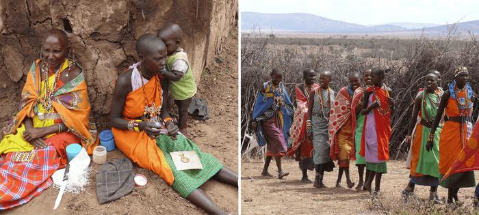 En la fiesta del poblado Masai las mujeres se divierten y nos venden su artesanía. Pero se puede masticar qué dura es su vida