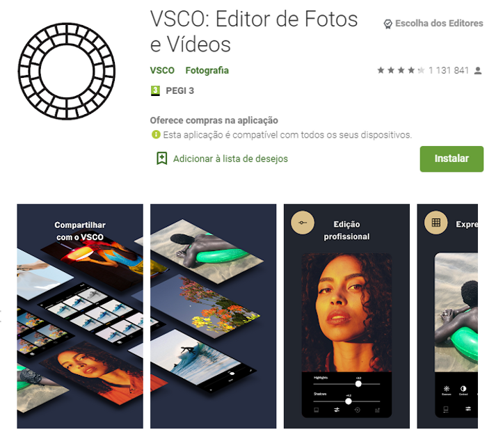 Screenshot da App VSCO