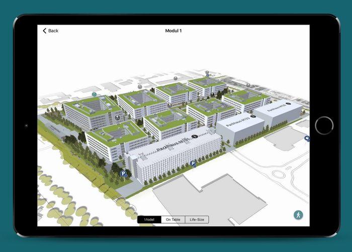 Virtuelle Vogelperspektive des Siemens Campus Erlangen