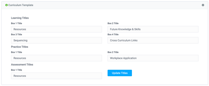 Users can add curriculum implementation templates