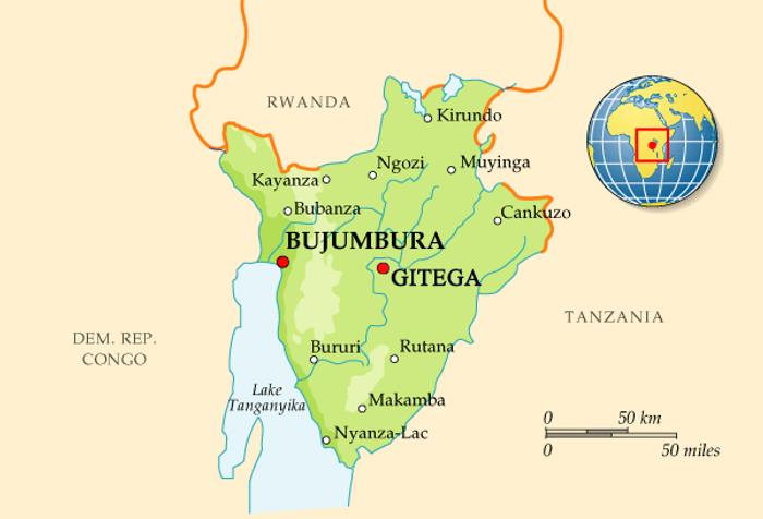 На карті позначено колишню столицю Бурунді – Бужумбуру та місто Гітегу, що отримало офіційний статус столиці в 2019 році.
