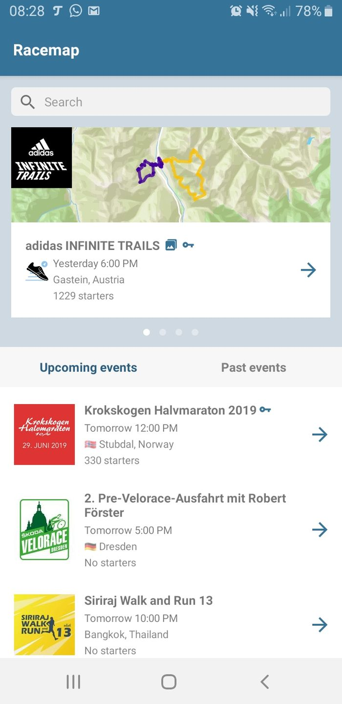 adidas INFINITE trails in Racemap App