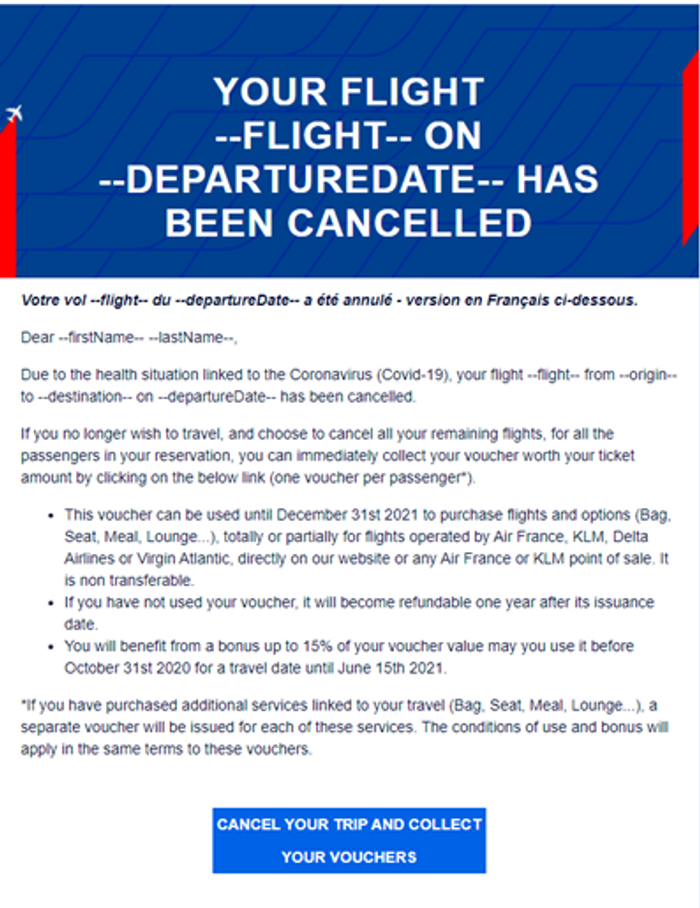 Air France email to its customers informing of flight's cancellation & offering aa instant voucher collection