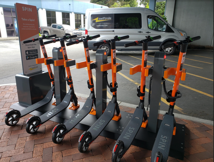 Spin tested solar-powered charging stations by Swiftmile in a pilot program