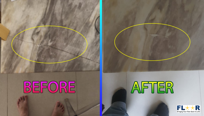 Before and after repair of the cracked tiles.