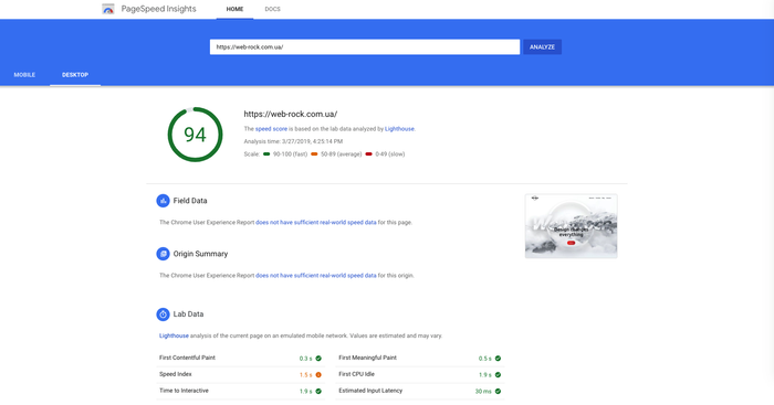 Google PageSpeed ​​Insights for our site