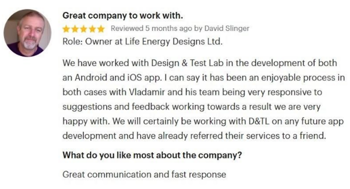 David Slinger, Owner at Life Energy Designs Ltd., is a gratified collaborator who is looking forward to work with the firm again