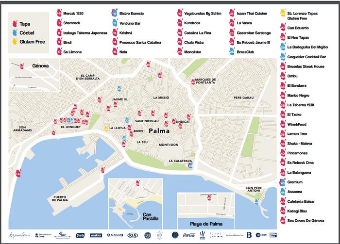 Карта Пальмы де Майорка с участниками фестиваля TaPlama 2019