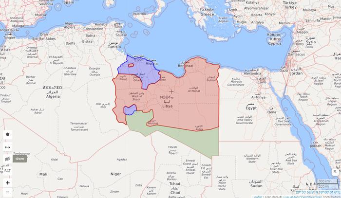 Ситуація в Лівії станом на 9 червня 2020 року. Червоним позначено підконтрольні Хафтару території, синім – Уряду національної згоди, зеленим – іншим повстанцям.