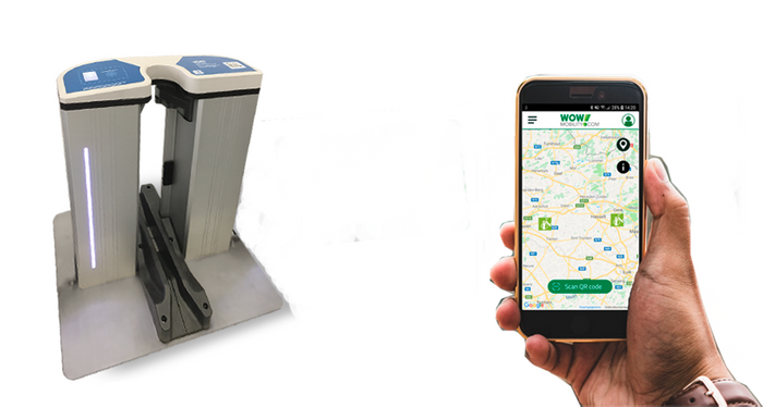 Draadloos laadstation en app om de stations te lokaliseren en een elektrische fiets te ontlenen.