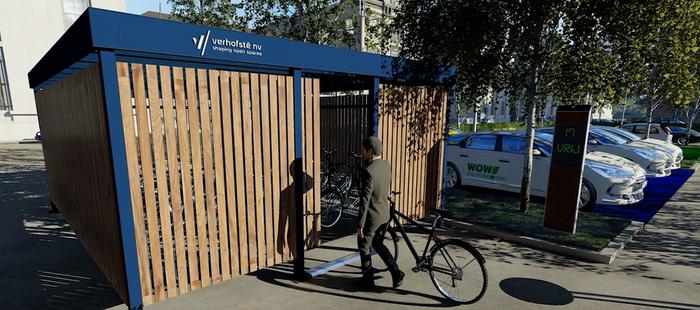 Dankzij de fietsenteller kan het aantal vrije plaatsen in de stalling getoond worden.
