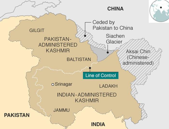 Територія Кашміру у складі трьох держав