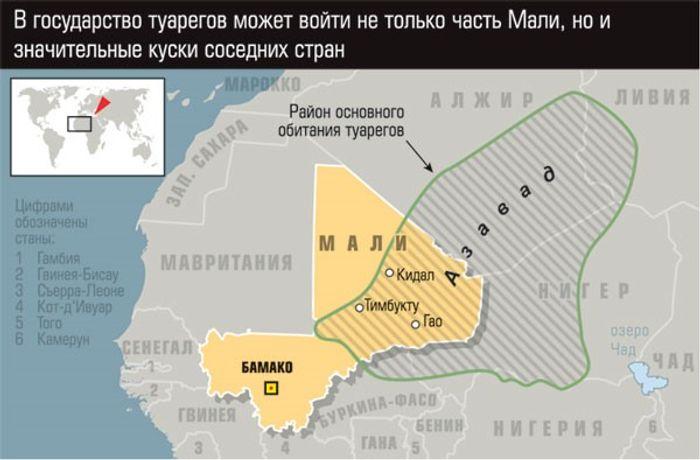 На карті позначено територію переважного проживання туарегів, широко відому як регіон Азавад