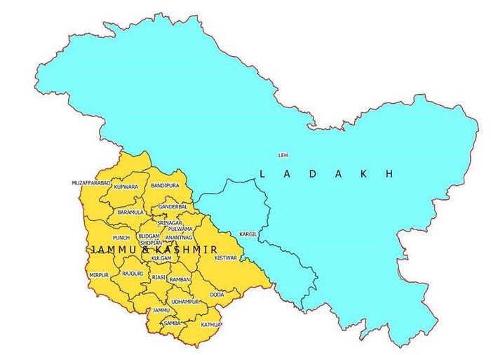 Союзні території Джамму та Кашмір і Ладакх після поділу (позначені непідконтрольні Індії території регіону)