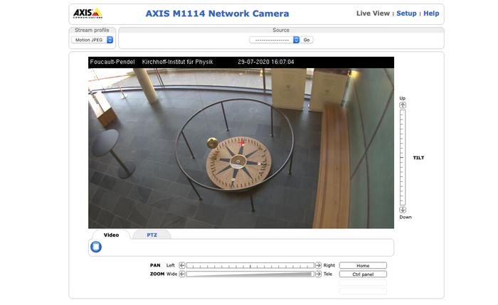 Камера показывает маятник Фуко в Гейдельбергском университете. Доказательство, что Земля круглая и вращается вокруг своей оси :)