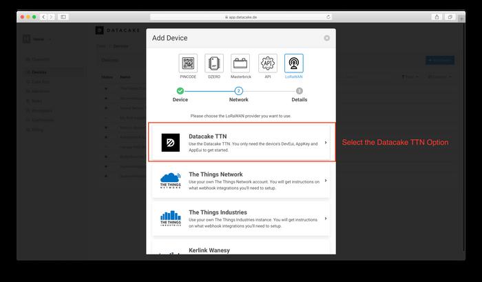 Select Datacake TTN LoRaWAN Network Server to skip creation of an TTN Application