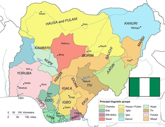 Мапа розселення етносів на території сучасної Нігерії.