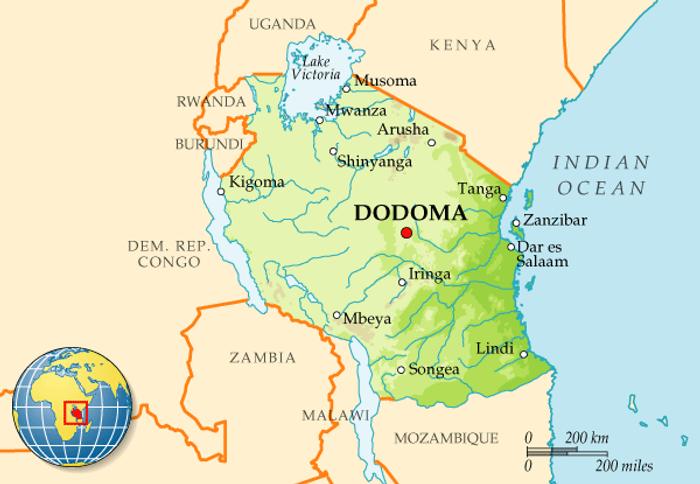 Карта Танзанії з архіпелагом Занзібар