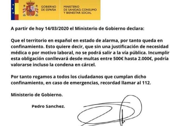 Уведомление об объявлении ЧС в Испании разосланное всем гражданам 14 марта