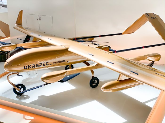 PD-1 VTOL fixed-wing drone in gold finishing