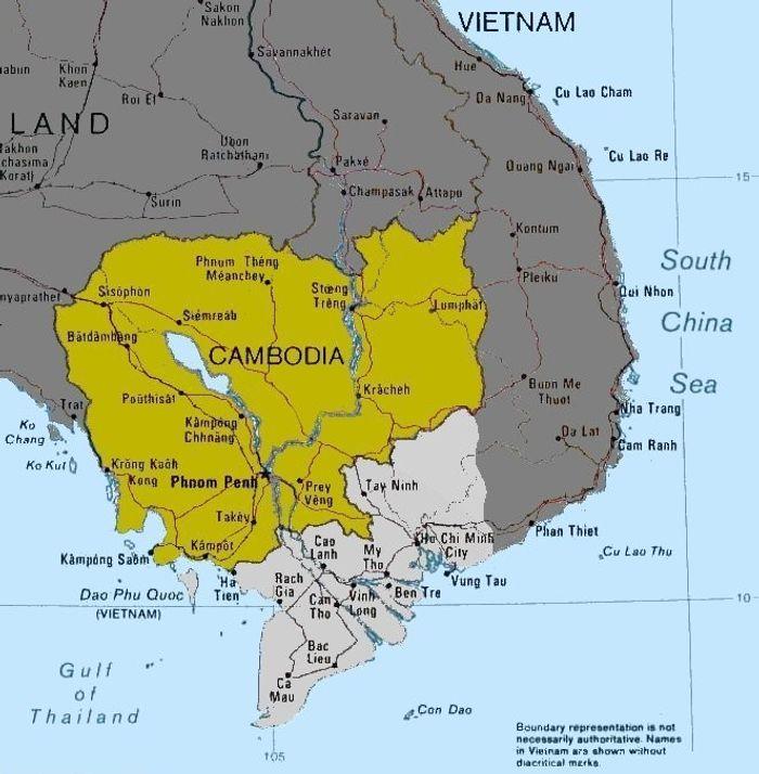 Зеленим кольором на мапі зображене сучасне Королівство Камбоджа, світло-сірим – дельта Меконгу, батьківщина кхмер-кромів, колонія Кохінхін, або Південний В'єтнам; темно-сірим – територія В'єтнаму та інших держав Індокитаю